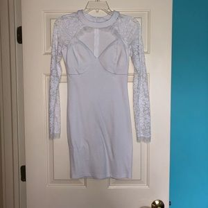 White Lace Sleeved Dress